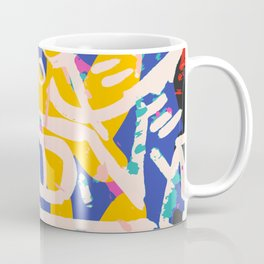 Pop Chevron Street Art Pattern Blue Yellow Pink Coffee Mug