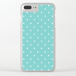 Small White Polka Dots with Aqua Background Clear iPhone Case