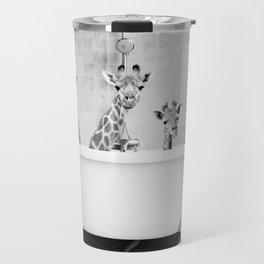 Four Giraffes in a Bath (bw) Travel Mug