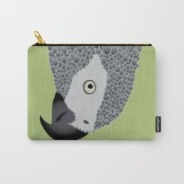 African Grey Parrot [ON MOSS GREEN] Carry-All Pouch
