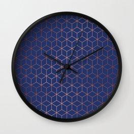 Gold Cubes 3 Wall Clock