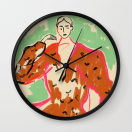 WOMAN IN A TERRACOTTA DRESS Wall Clock