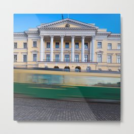 Helsinki Senate Square and a tram in motion Metal Print