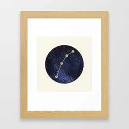 Golden Aries Zodiac Sign Constellation Galaxy Art Framed Art Print