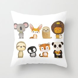 Mr. Lion & His Friends Throw Pillow