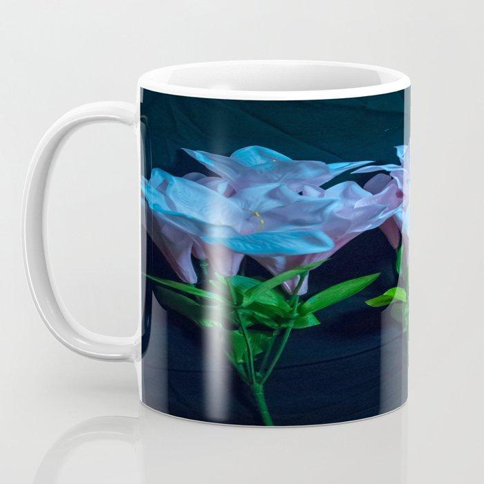 pink and blue flowers on black Coffee Mug