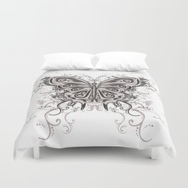 Beautiful filigree butterfly with flowers Duvet Cover