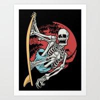 skull surf Art Print