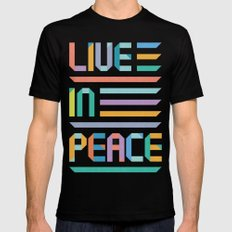 Live In Peace Mens Fitted Tee Black MEDIUM