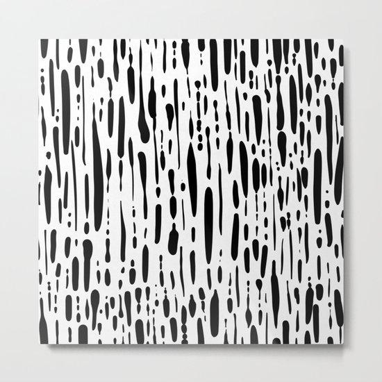 Ice Melt Black and White Metal Print