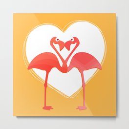 lovebirds - flamingos in love Metal Print