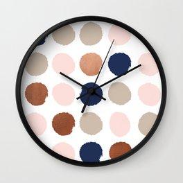 Polka dots abstract minimalist painting bronze copper gold metallic dot Wall Clock