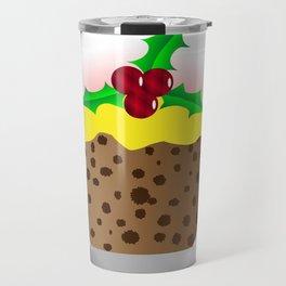 Christmas Pudding With Custard And Holly Sprig Travel Mug