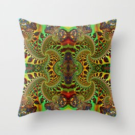 Psychedelic Fractal Geometry - different perspective Throw Pillow