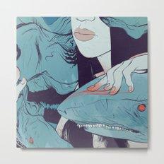 Peaceoffering: Sharks! Women! Danger. Metal Print