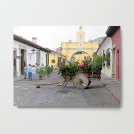 Christmas Flower Cart Metal Print