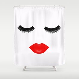 Lips And Lashes Shower Curtain