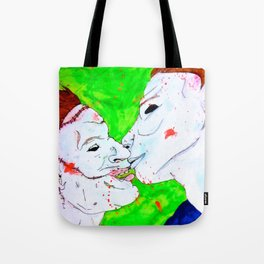 Michael and Leatherface sitting in a tree... Tote Bag