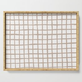 Strokes Grid - Nude on Off White Serving Tray