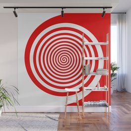 Red and White Spiral Wall Mural