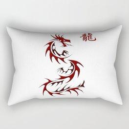 Asian Red Dragon Design Rectangular Pillow