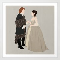 outlander Art Prints featuring Outlander, Jamie and Claire by carolam