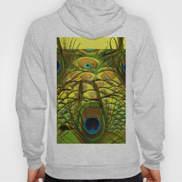 GREEN-YELLOW PEACOCK ART Hoody