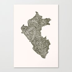 Lettering map of Perú Canvas Print