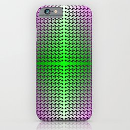 Purple Arrows Pointing into Ombre Green and Purple Field iPhone Case