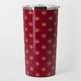 Electric Yellow on Burgundy Red Snowflakes Travel Mug