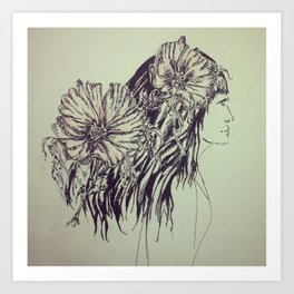 Girl with cosmos Art Print