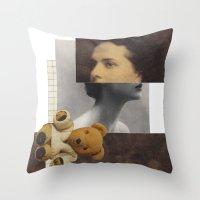 teddy bear Throw Pillows featuring Teddy by KatinkaHanselman