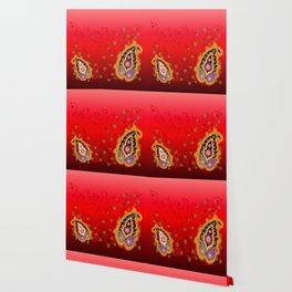 red jewel paisley border Wallpaper