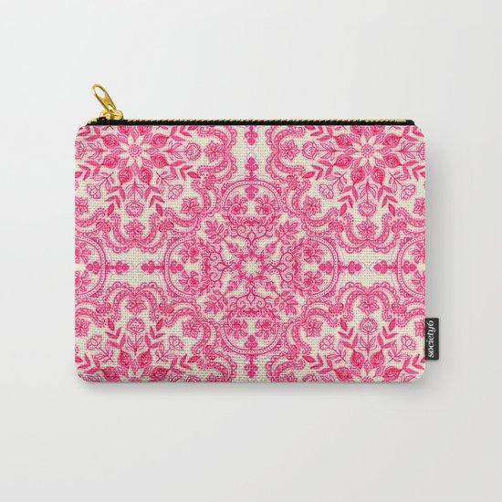 Hot Pink & Soft Cream Folk Art Pattern Carry-All Pouch