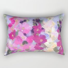 Pink Hollyhocks in My Garden Rectangular Pillow