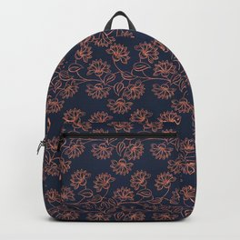 Georgian Floral - Orange on Navy Backpack