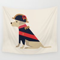 napoleon Wall Tapestries featuring Napoleon, dog emperor by GregSuj