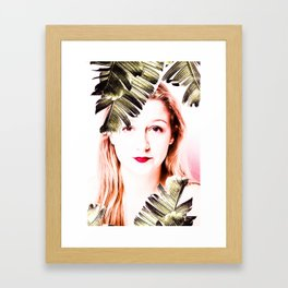 woman with palm laef Framed Art Print