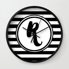 R Striped Monogram Letter Wall Clock