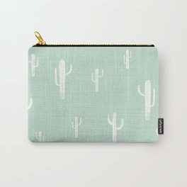 CACTUS PRINT- mint / white Carry-All Pouch