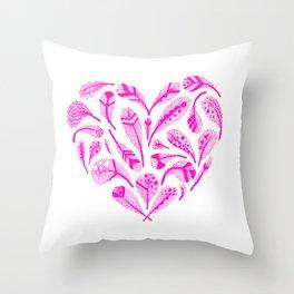 Feather Heart (Magenta) Throw Pillow