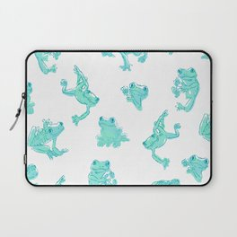 Froggy Frog large white teal Laptop Sleeve