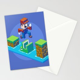 Isometric Mario pixel art Stationery Cards