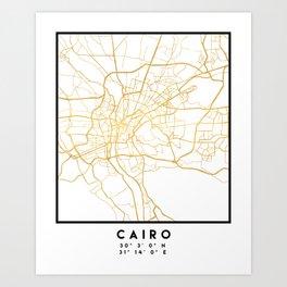 CAIRO EGYPT CITY STREET MAP ART Art Print