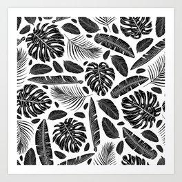 Tropical Monochrome Black and White Botanical Pattern Art Print