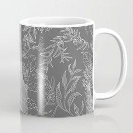 Grey Elegant Botanical line pattern Coffee Mug