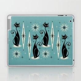Mid Century Meow Retro Atomic Cats on Blue Laptop & iPad Skin