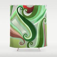 Green curve Shower Curtain