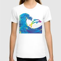 hokusai T-shirts featuring Hokusai Rainbow & dolphin_C by FACTORIE