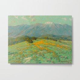Granville Redmond snow cap spring landscape painting orange flowers green field Metal Print